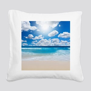 Sunny Beach Square Canvas Pillow