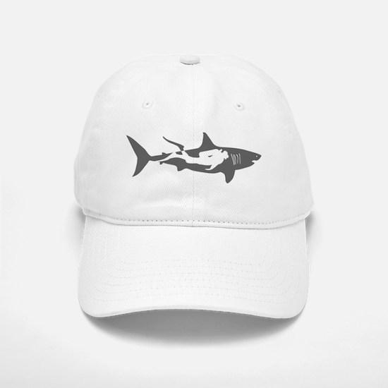 shark scuba diver hai taucher diving Baseball Baseball Cap