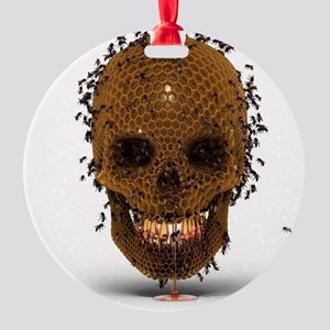 Skull Hive Round Ornament