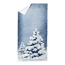 Cute Snowy Pine Trees Beach Towel