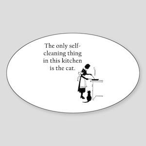Kitchen Cat Oval Sticker