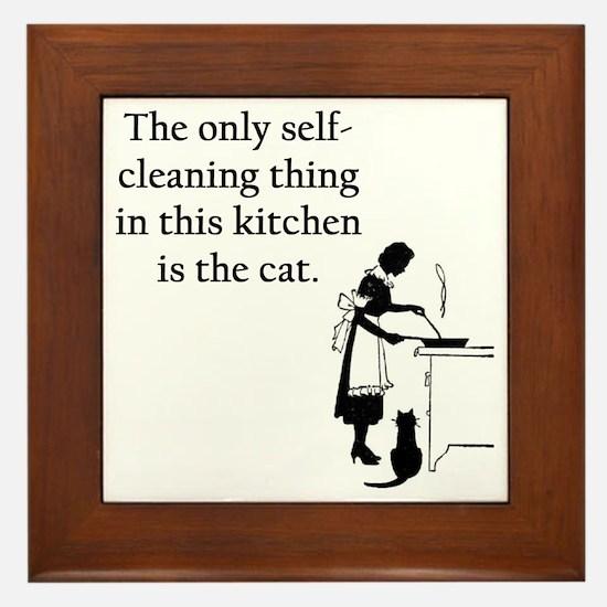 Kitchen Cat Framed Tile