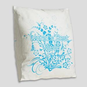 Best Niece - Blue Floral Burlap Throw Pillow