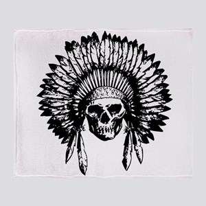 Native American Skull Throw Blanket