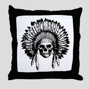 Native American Skull Throw Pillow