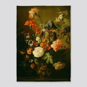 Jan van Huysum - Vase of Flowers 5'x7'Area Rug