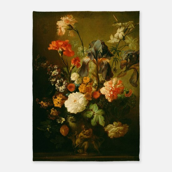 Jan van Huysum - Vase of Flowers 5'x7'Area Rug