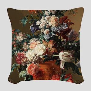 Jan van Huysum - Vase of Flowe Woven Throw Pillow