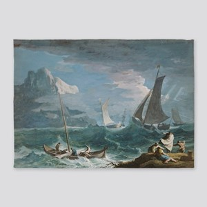 Marco Ricci - Fishing Boats in a St 5'x7'Area Rug