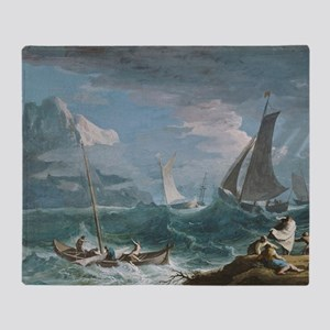 Marco Ricci - Fishing Boats in a Sto Throw Blanket