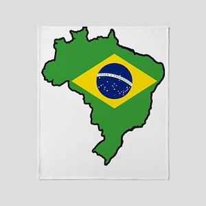 Brazil Flag Map Throw Blanket