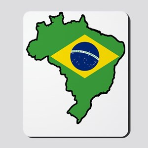 Brazil Flag Map Mousepad