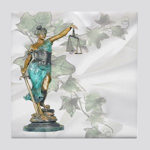 Lady Justice on Satin and Ivy Tile Coaster