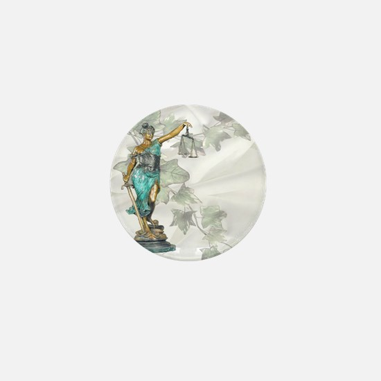 Lady Justice on Satin and Ivy Mini Button