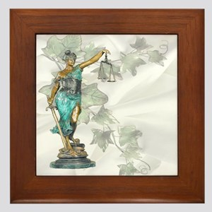 Lady Justice on Satin and Ivy Framed Tile