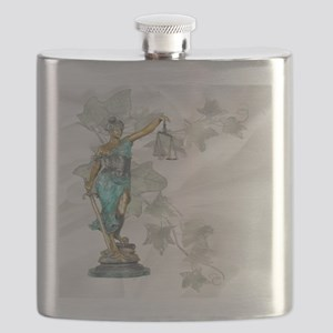 Lady Justice on Satin and Ivy Flask