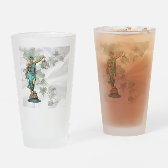 Lady Justice on Satin and Ivy Drinking Glass