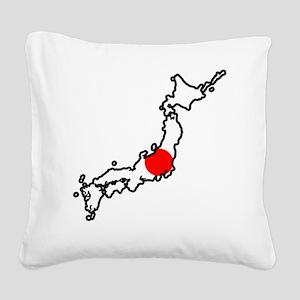 Japan Flag Map Square Canvas Pillow