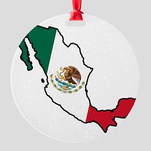 Mexico Flag Map Round Ornament