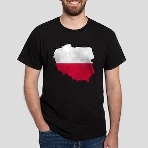 Poland Flag Map Dark T-Shirt