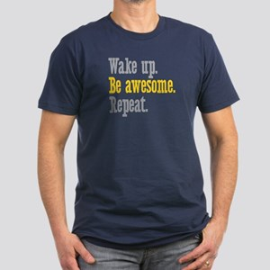 Wake Up Be Awesome Men's Fitted T-Shirt (dark)