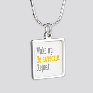 Wake Up Be Awesome Silver Square Necklace