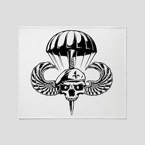 Paratrooper Skull Throw Blanket