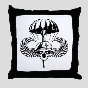 Paratrooper Skull Throw Pillow