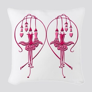 Pink Fuchsias Woven Throw Pillow