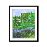 Four Saguaros & Wildflowers Framed Panel Print