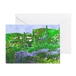 Four Saguaros & Wildflowers Greeting Card