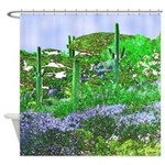 Four Saguaros & Wildflowers Shower Curtain