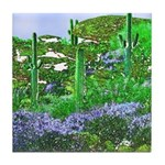 Four Saguaros & Wildflowers Tile Coaster