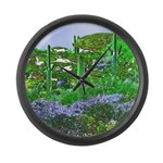 Four Saguaros & Wildflowers Large Wall Clock