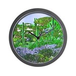 Four Saguaros & Wildflowers Wall Clock