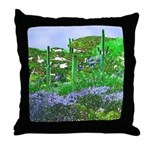 Four Saguaros & Wildflowers Throw Pillow
