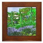 Four Saguaros & Wildflowers Framed Tile
