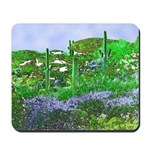 Four Saguaros & Wildflowers Mousepad