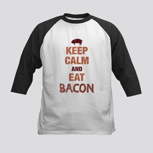 Keep Calm Eat Bacon Kids Baseball Jersey
