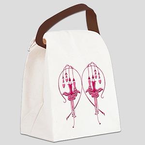 Pink Fuchsias Canvas Lunch Bag