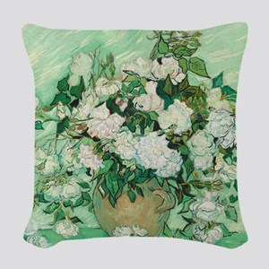 Vincent Van Gogh - Roses Woven Throw Pillow