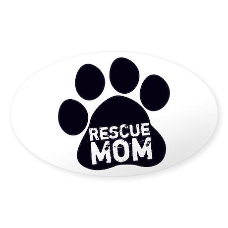 Rescue Mom Sticker (Oval)