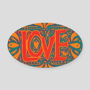 Summer Love Oval Car Magnet