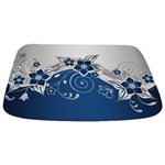 Blue And Silver Gray Floral Bathmat