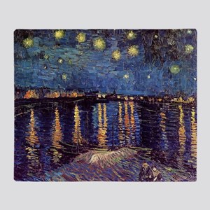 Starry Night over the Rhone. Vintage Throw Blanket