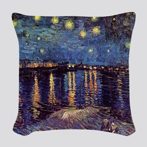 Starry Night over the Rhone. V Woven Throw Pillow
