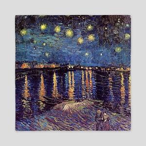 Starry Night over the Rhone. Vintage f Queen Duvet
