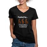 Fuel Chocolate Bunnies Women's V-Neck Dark T-Shirt