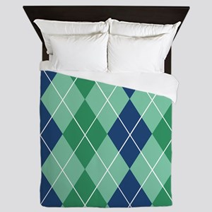 Argyle Blue and Green Napkin Queen Duvet