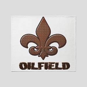 Rusty Diamond Plate Fleur Des Lis Oilfield Throw B